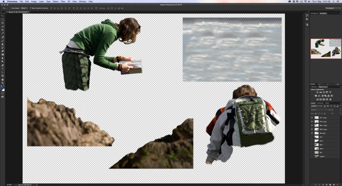 Into this group of layers: (show the five distinct layers from Ps)Individual Image Layers